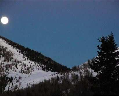 Snowshoeing under the moonlight